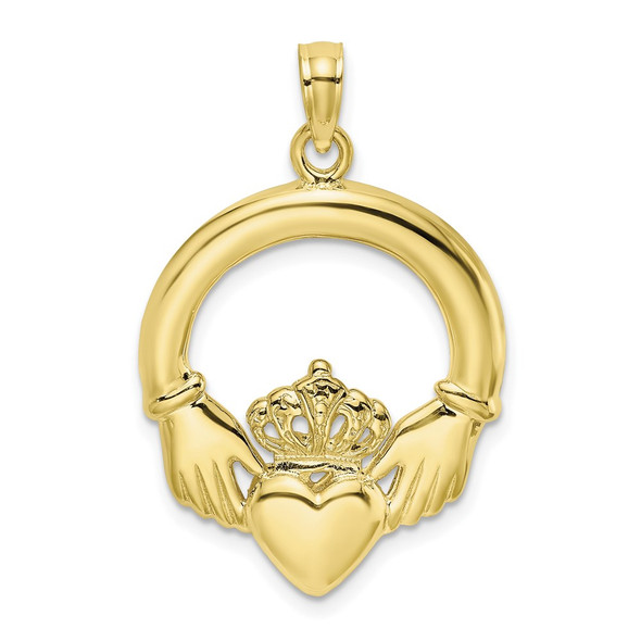 10k Yellow Gold Polished Large Claddagh Heart Pendant