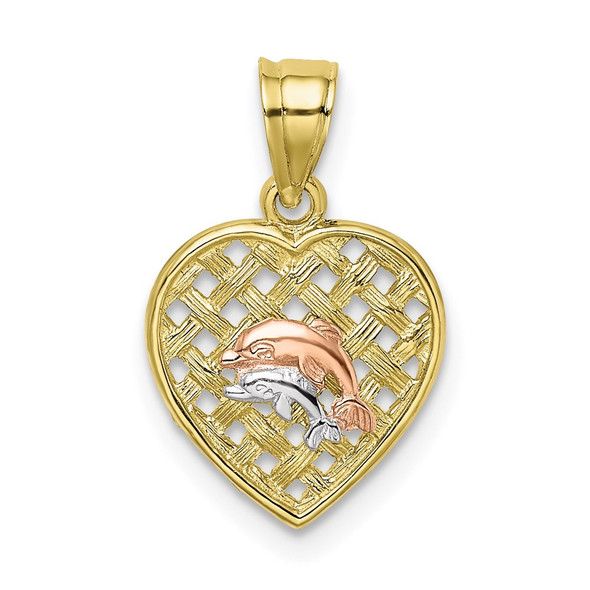 10K Tri-Color Gold Double Dolphins On Woven Heart Pendant