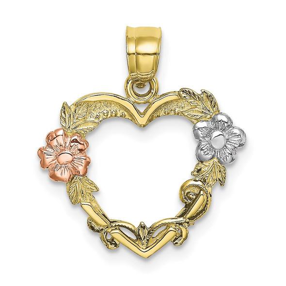 10K Two-tone Gold w/White Rhodium Flower In Heart Pendant