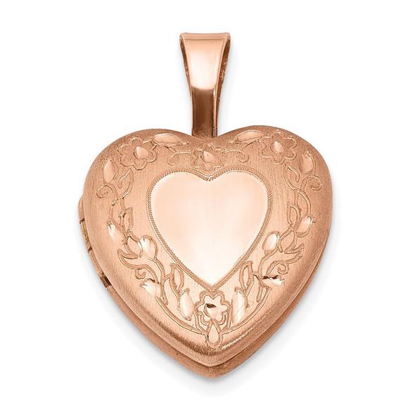 Pink-Finish Sterling Silver Flower Border 12mm Heart Locket Pendant