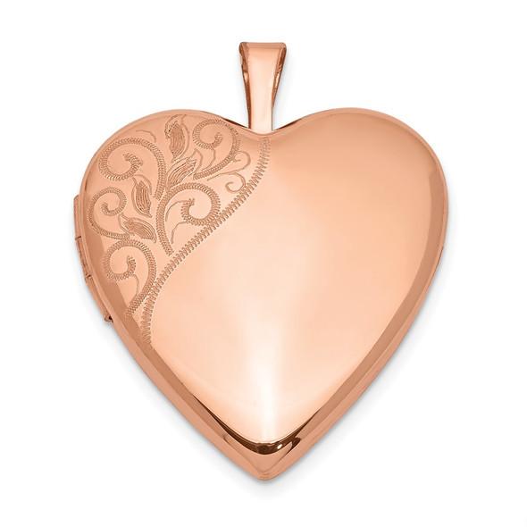 Pink-Finish Sterling Silver 20mm Polished Swirl Heart Locket Pendant