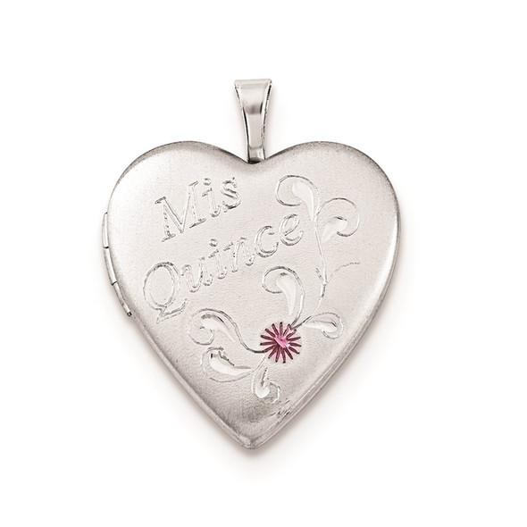 Sterling Silver 20mm Enameled Diamond-Cut Mis Quince Heart Locket Pendant