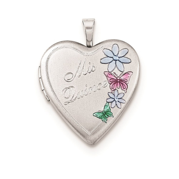 Sterling Silver 20mm Enameled Mis Quince Heart Locket Pendant
