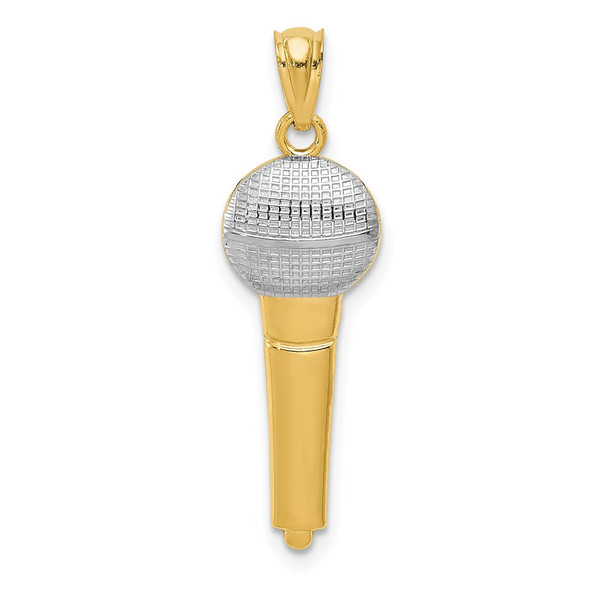 Mens 14k Yellow Gold And Rhodium Microphone Pendant