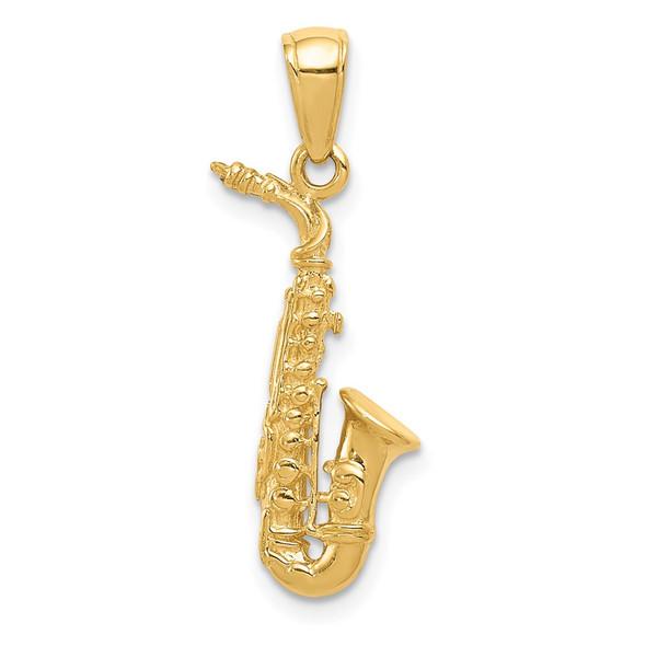 14k Yellow Gold 3-D Saxophone Pendant