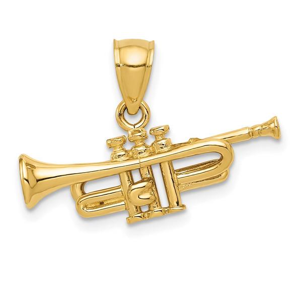 14k Yellow Gold 3D Trumpet Pendant