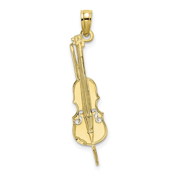 10k Yellow Gold Polished and Engraved Upright Bass Pendant