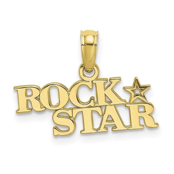 10k Yellow Gold Polished Rock Star Pendant