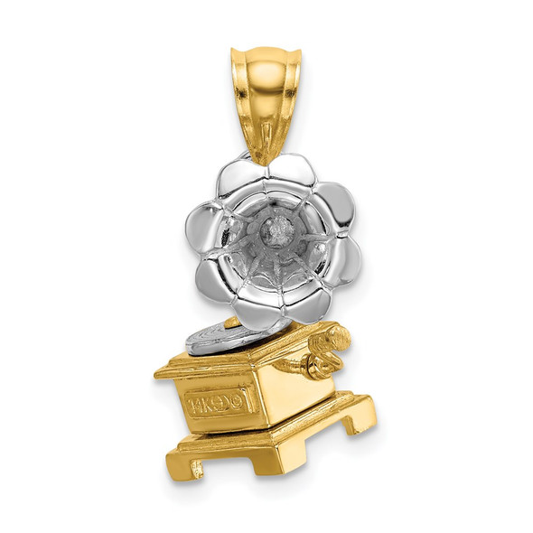 14k Gold With Rhodium 3-D Moveable Phonograph Pendant