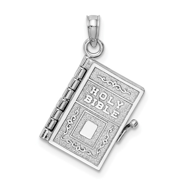 14k White Gold 3-D Holy Bible w/Lords Prayer Moveable Pendant