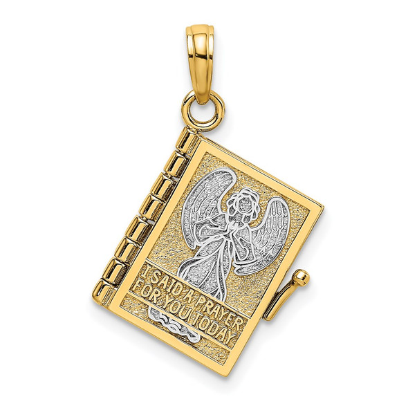 14k Yellow Gold And Rhodium 3-D Angel Cover Book W/I Said Prayer For You Pendant