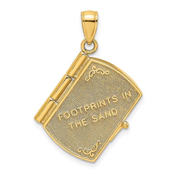 14k Gold and Rhodium 3-D Footprints The Sand Book w/ Prayer Inside Pendant