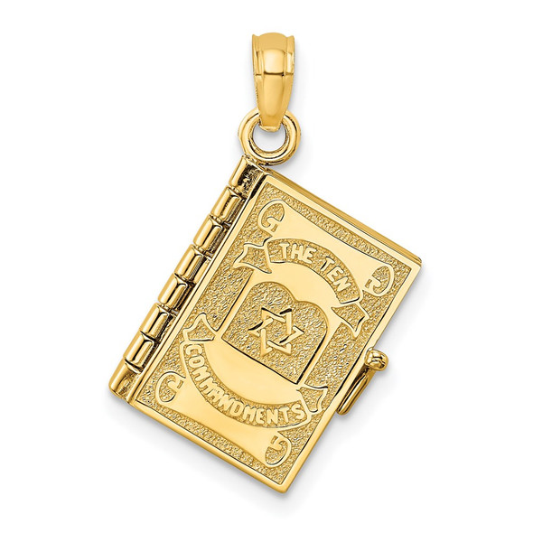 14k Yellow Gold 3-D w/Moveable Pages Hebrew Ten Commandments Book Pendant