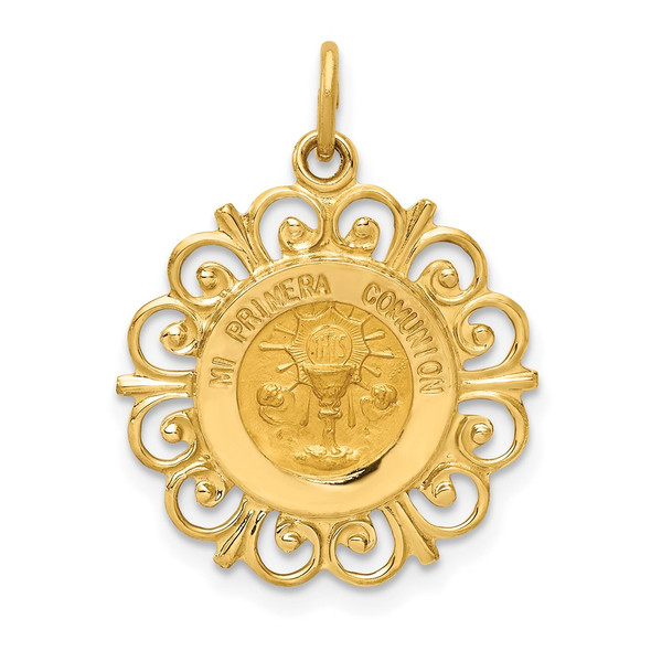 14k Yellow Gold Polished and Satin Spanish Communion Cup Medal Pendant