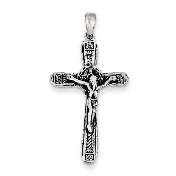 Sterling Silver Crucifix Antiqued Cross Pendant