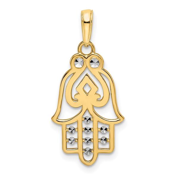 14k Yellow Gold and White Rhodium Diamond-cut Spade Symbol Hamsa Pendant