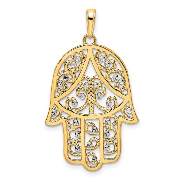 14k Yellow Gold and White Rhodium Diamond-cut Filigree Hamsa Pendant