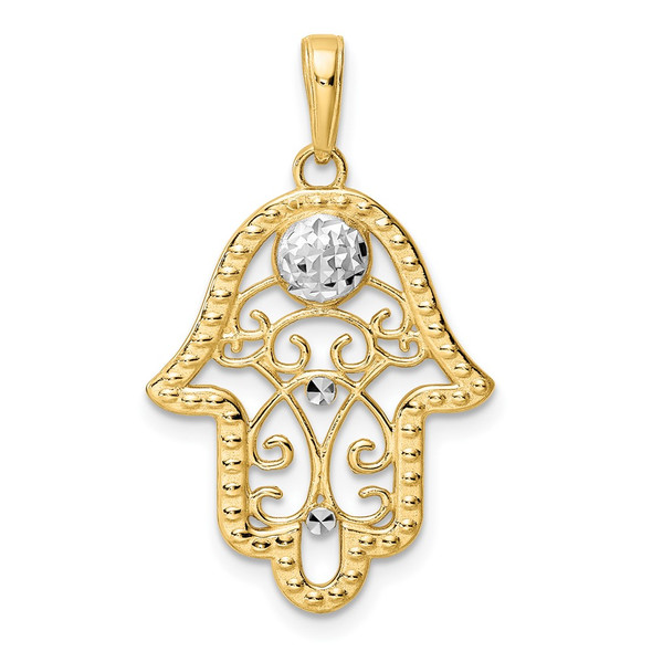 14k Yellow Gold and White Rhodium Diamond-cut Evil Eye Filigree Hamsa Pendant