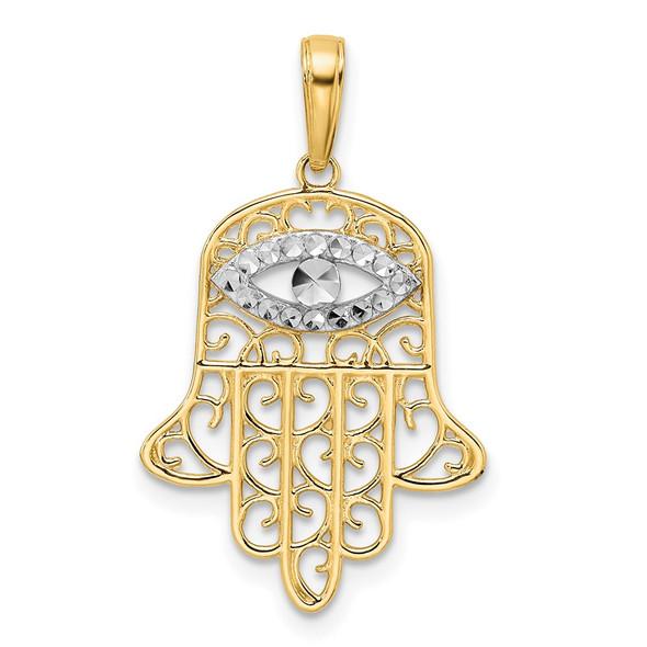 14k Yellow Gold and White Rhodium Diamond-cut Filigree Evil Eye Hamsa Pendant