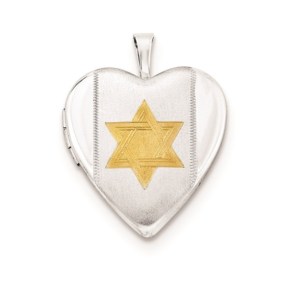 925 Silver 20mm Polished and Satin Gold-Plate Star of David Heart Locket Pendant