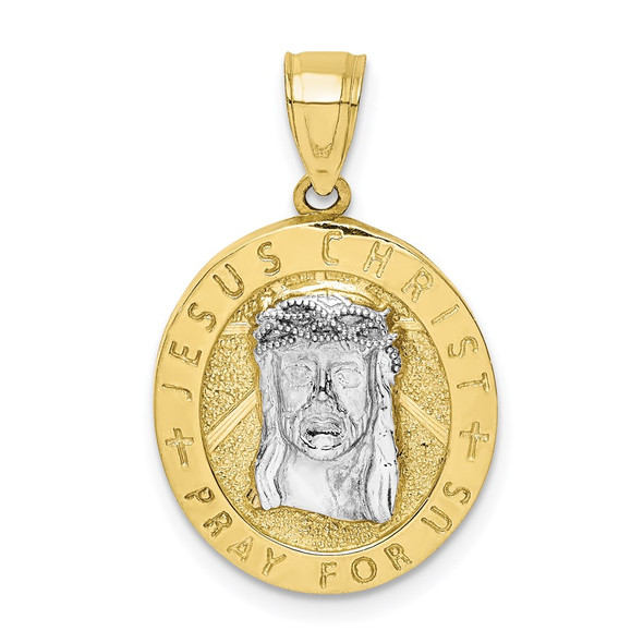 10k Yellow Gold w/Rhodium Reversible Jesus and Guadalupe Medal Pendant