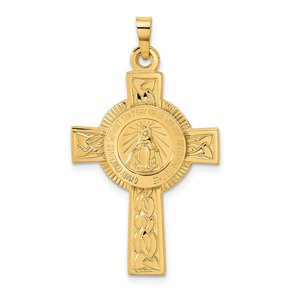 14k Yellow Gold Cross With Miraculous Medal Pendant