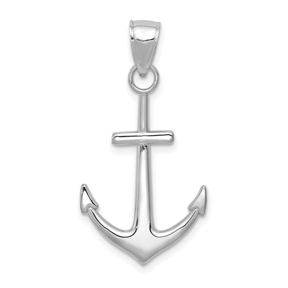 14k White Gold Polished Anchor Pendant