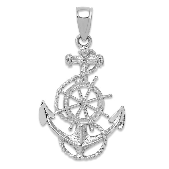 14k White Gold Anchor and Wheel Pendant