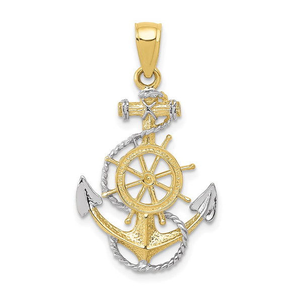 10k Yellow Gold with Rhodium-Plating Anchor w/Rope Pendant