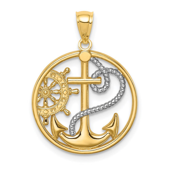 14k Yellow Gold And Rhodium Cross Anchor Captain Wheel Pendant