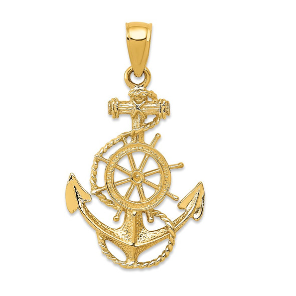 14k Yellow Gold Anchor and Wheel Pendant
