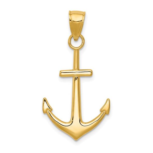 14k Yellow Gold Polished Anchor Pendant K5394