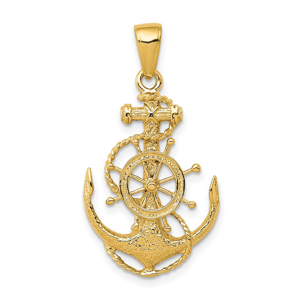 14k Yellow Gold Medium Anchor w/Wheel Pendant