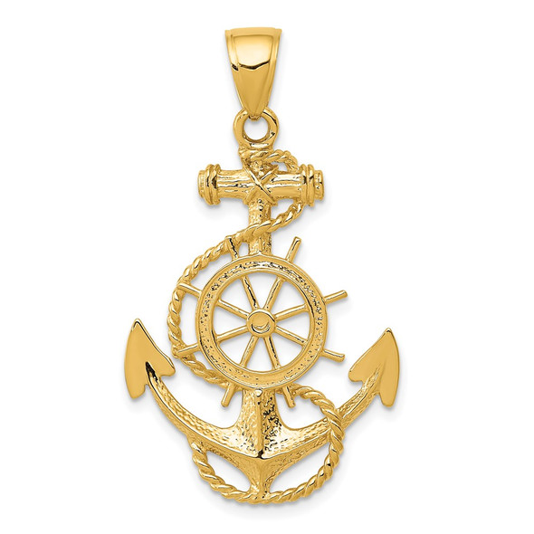 14k Yellow Gold Large Anchor w/Wheel Pendant