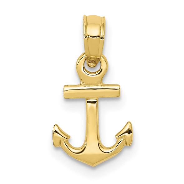 10k Yellow Gold Mini Anchor Pendant