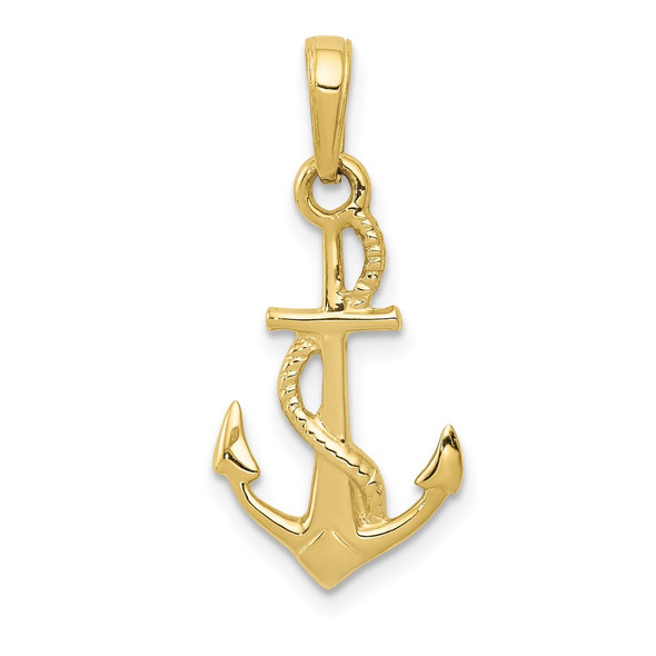 10k Yellow Gold Solid Polished 3-Dimensional Anchor Pendant