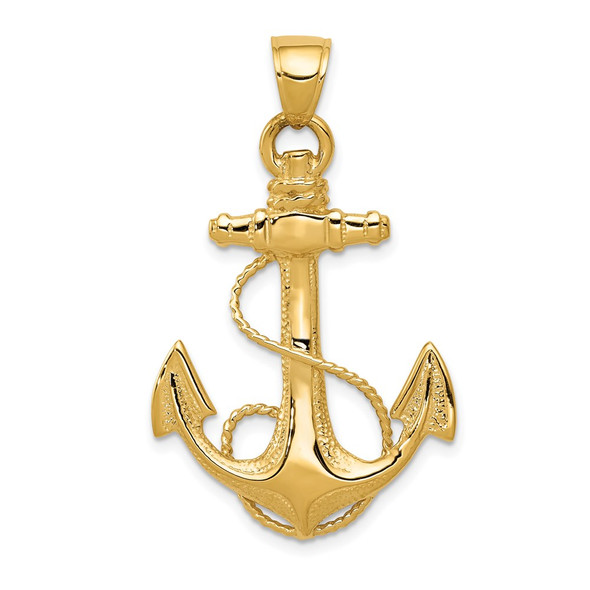 10k Yellow Gold 2-D Anchor With Rope Pendant