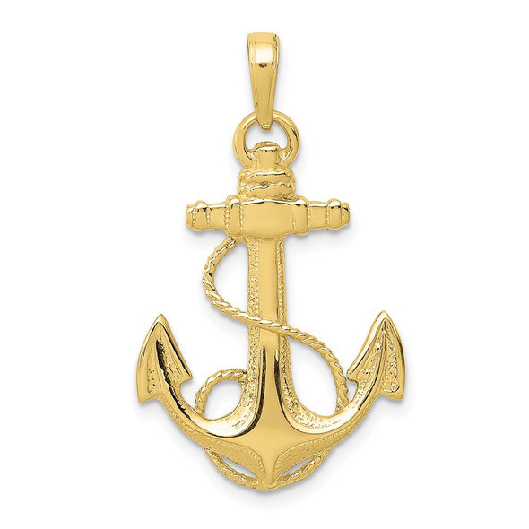 10k Yellow Gold Anchor w/Rope Pendant