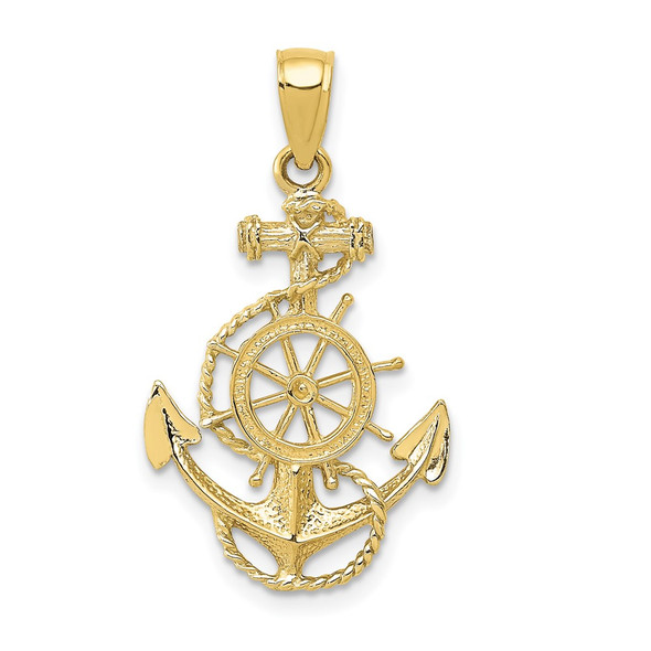 10k Yellow Gold Anchor And Wheel Pendant