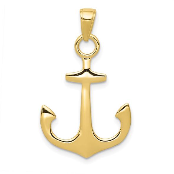 10k Yellow Gold 3-D Anchor Pendant 10C3345