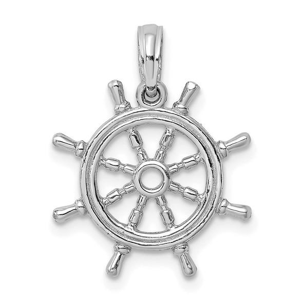 14k White Gold 3-D Ship Wheel Pendant