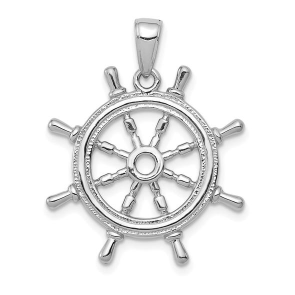 14k White Gold 3D Ships Wheel Pendant K3071W