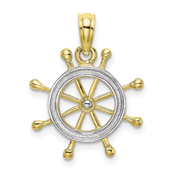10k Yellow Gold With Rhodium-Plating Ship Wheel Pendant