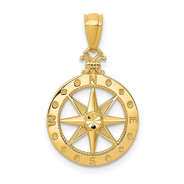14k Yellow Gold Diamond-cut Polished Compass Pendant K6095