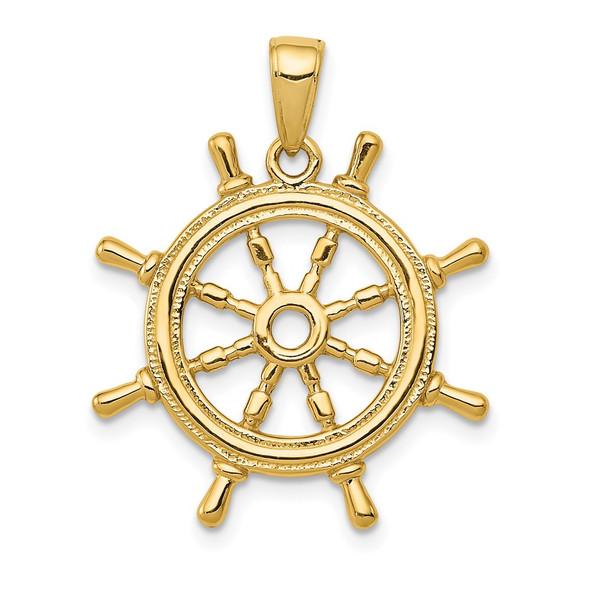 14k Yellow Gold 3D Ships Wheel Pendant K3071