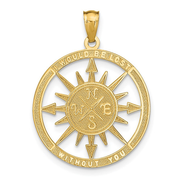 14k Yellow Gold Satin and Polished Lost Without You Compass Pendant