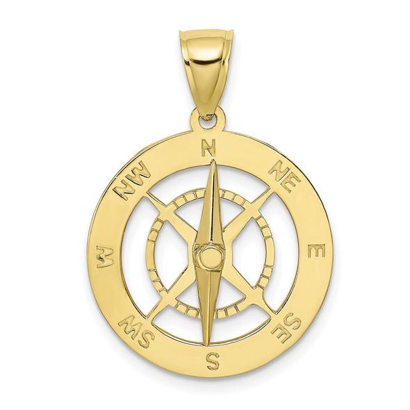 10k Yellow Gold Nautical Compass w/Moveable Needle Pendant