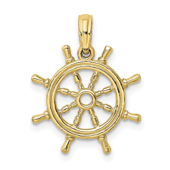 10k Yellow Gold 3-D Ship Wheel Pendant