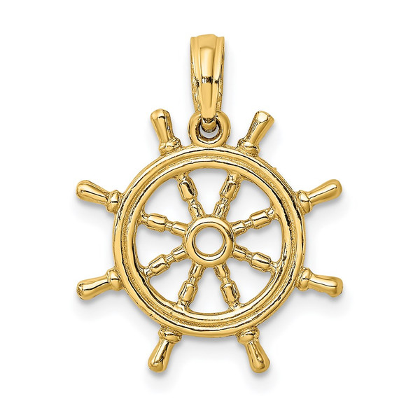 14k Yellow Gold 3-D Ships Wheel Pendant