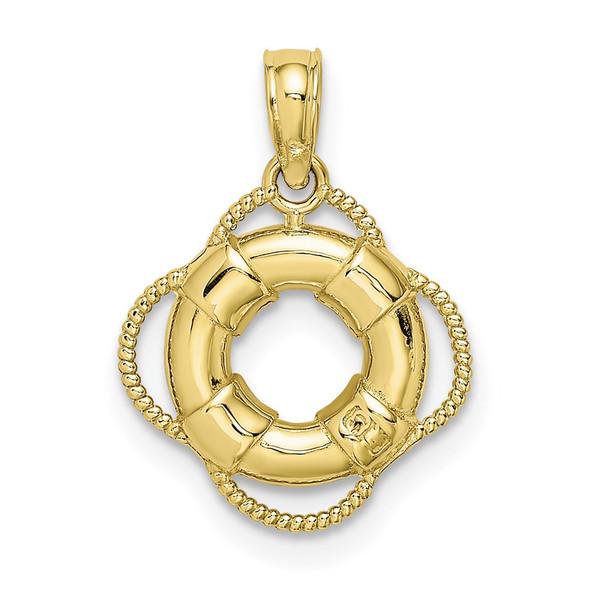 10k Yellow Gold Lifesaver Pendant